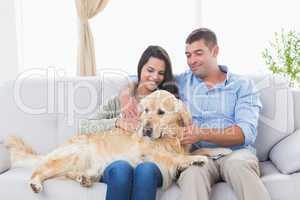 Couple stroking dog while sitting on sofa