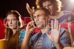 Annoying man on the phone during movie