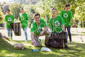 Environmental activists picking up trash