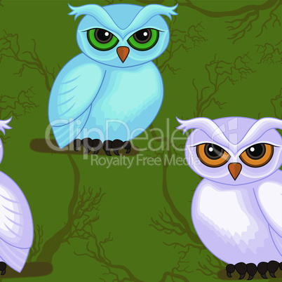 Seamless artwork pattern with cartoon owls