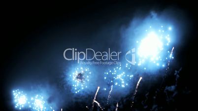 Blurred fairy lights from fireworks background.