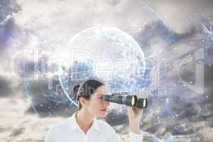 Composite image of business woman looking through binoculars