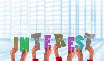 Composite image of hands showing interest