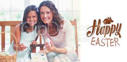 Composite image of happy mother and daughter painting easter egg