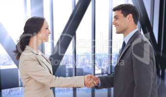 Composite image of future partners shaking hands