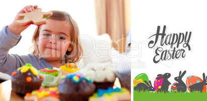 Composite image of happy little girl eating confectionery at hom
