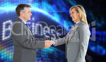 Composite image of pleased businessman shaking the hand of conte