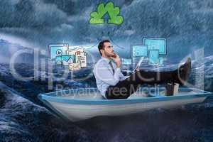 Composite image of businessman in boat with tablet pc