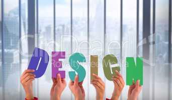 Composite image of hands holding up design