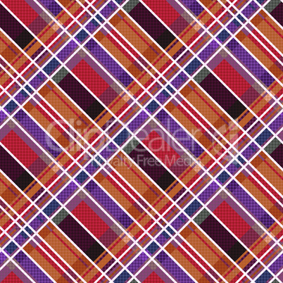Rhombic tartan fabric seamless texture in warm colors