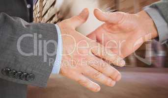 Composite image of two people going to shake their hands