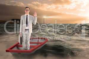 Composite image of businessman waving in boat