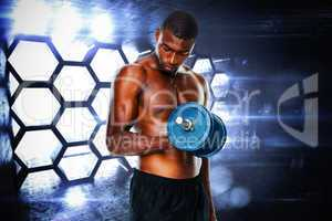 Composite image of determined fit shirtless young man lifting du