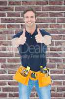 Composite image of man wearing tool belt while showing thumbs up