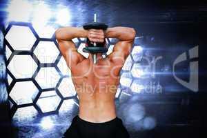 Composite image of bodybuilder lifting dumbbell