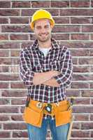 Composite image of confident male handyman wearing tool belt