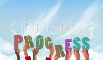 Composite image of hands holding up progress