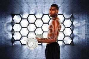Composite image of portrait of a serious fit young man lifting b