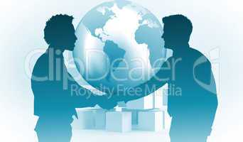 Composite image of smiling young businessmen shaking hands in of