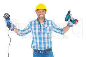 Manual worker holding power tools