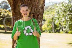 Environmental activist showing thumbs up