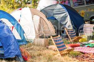 Empty campsite at music festival