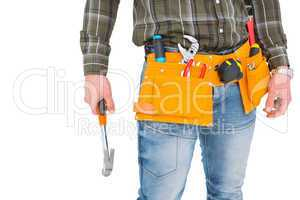 Manual worker holding hammer