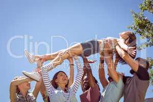Pretty brunette crowd surfing