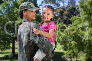 Soldier reunited with her daughter