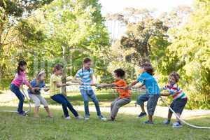 Children having a tug of war in park