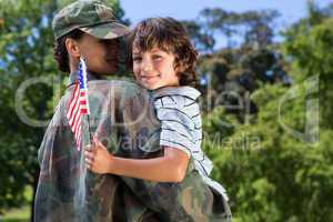 Soldier reunited with her son