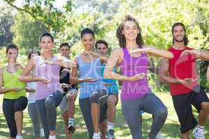 Fitness group doing tai chi in park