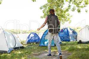 Man arriving at music festival