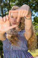 Pretty blonde framing with hands