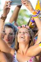 Excited music fan at festival