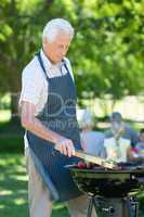 Concentrate grandfather doing barbecue