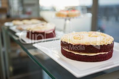 Display case of sweet desert