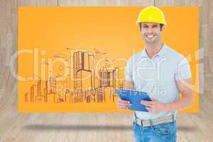 Composite image of happy architect holding clip board