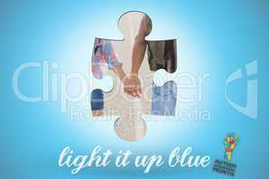 Light it up blue against blue background with vignette