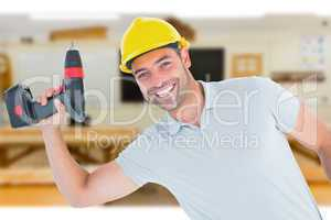 Composite image of smiling repairman holding power drill