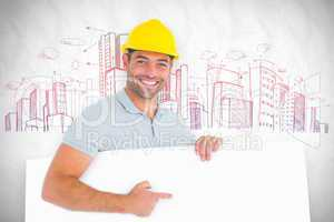 Composite image of foreman pointing at blank board on white back