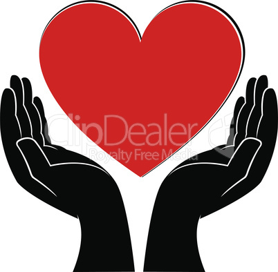 Human hands holding a heart