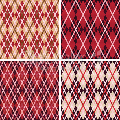 Four rhombic seamless patterns in red hues