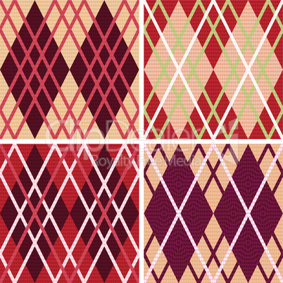 Four rhombic seamless patterns