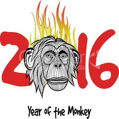 The year of fire monkey Chinese symbol calendar in red on figures vector illustration. Chinese new year 2016 (Monkey year) .