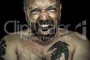 angry man with beard