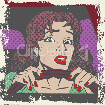Scared woman driver behind the wheel of a car pop art comics retro style Halftone