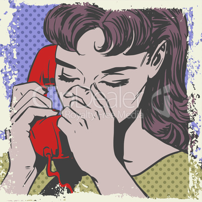 Woman talking on the phone sad pop art comics retro style Halftone