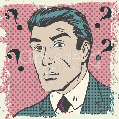 Confused man emotion misunderstanding the questions pop art comics retro style Halftone
