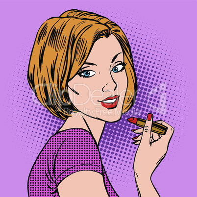 Beautiful girl paints her lips red lipstick pop art comics retro style Halftone